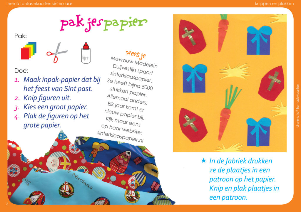 creatief keuzewerk tekenopdracht sinterklaas sint knippen en plakken